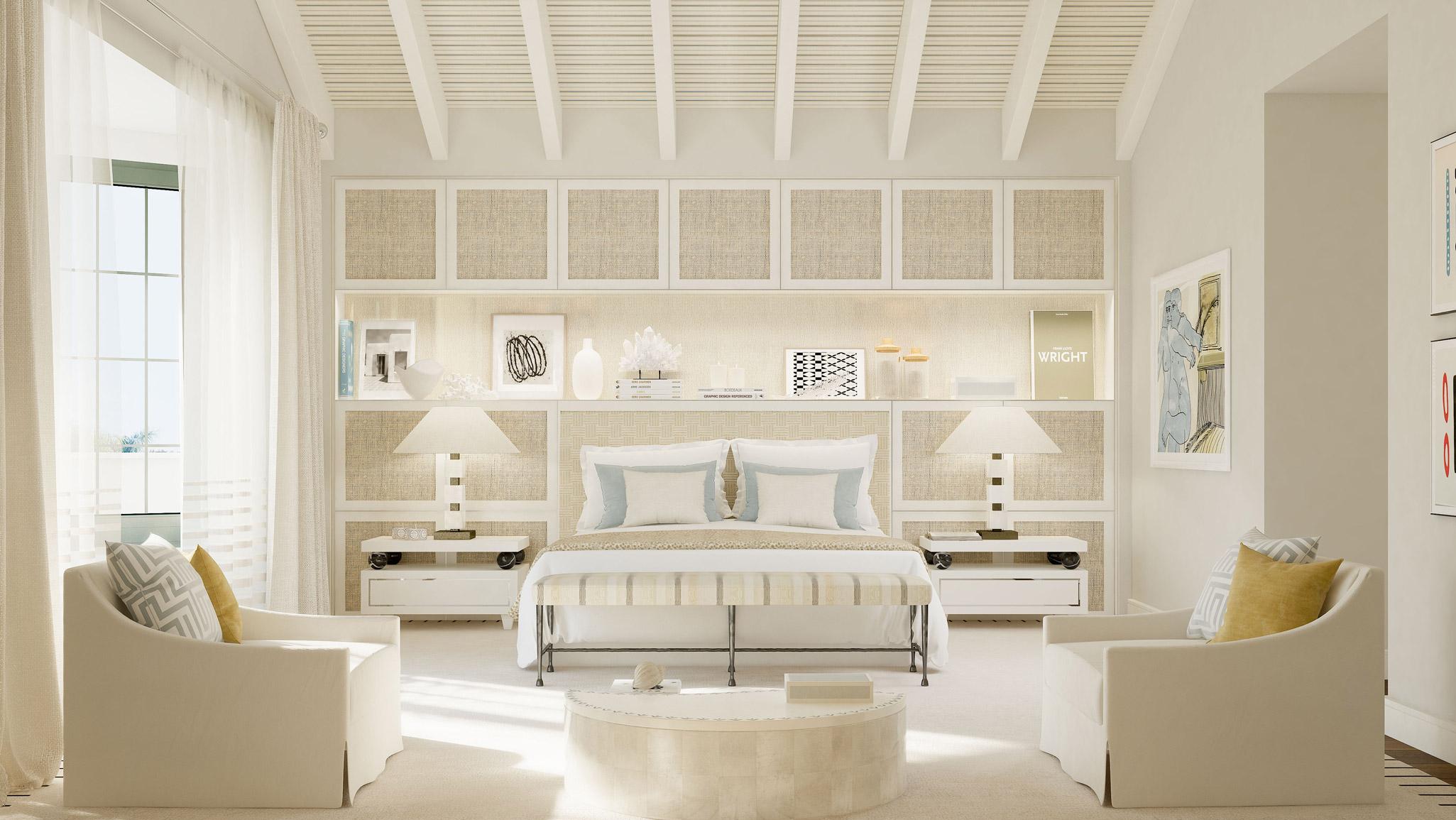Dormitorio decorado con dos mesas de luz y sofás individuales