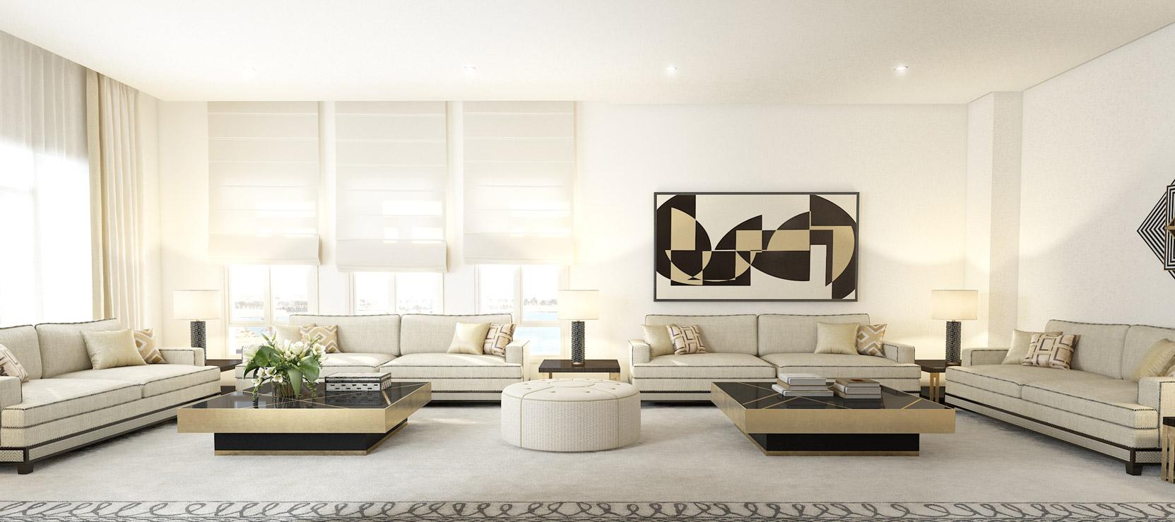 Sala con tonos cálidos y muebles finos de alta calidad
