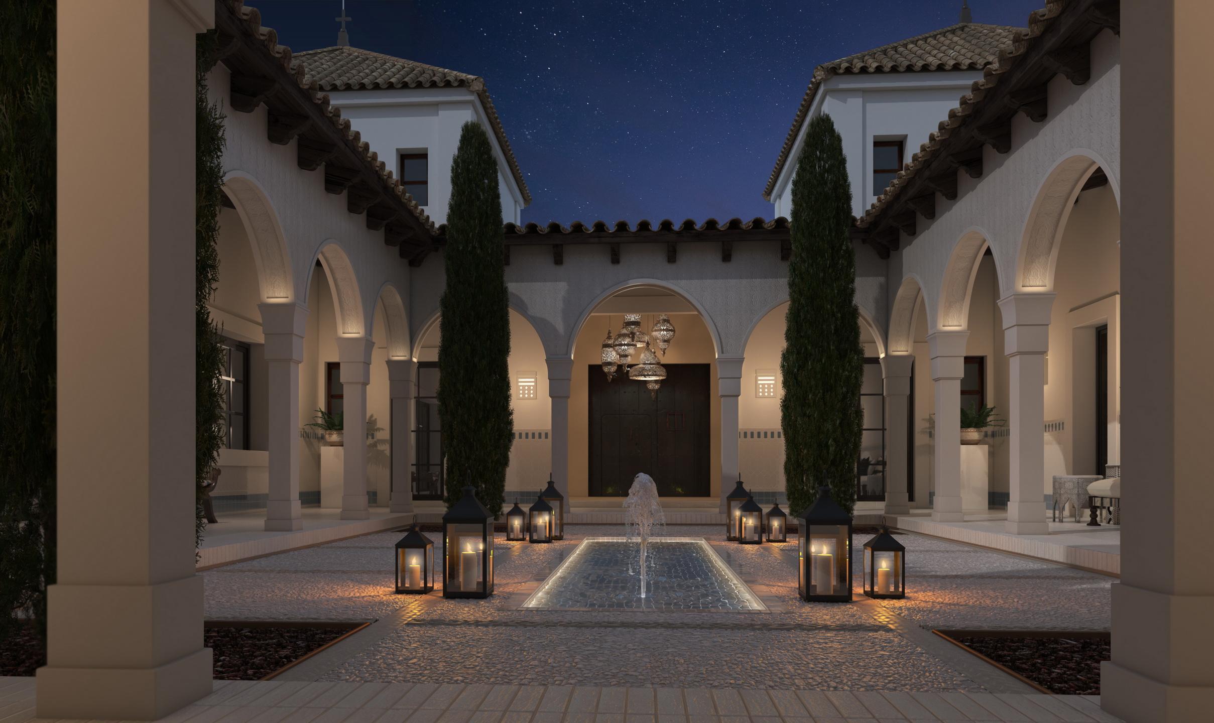 Cómo iluminar y decorar patios interiores