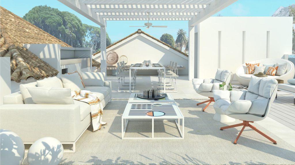 cocina exterior amplia con mesas