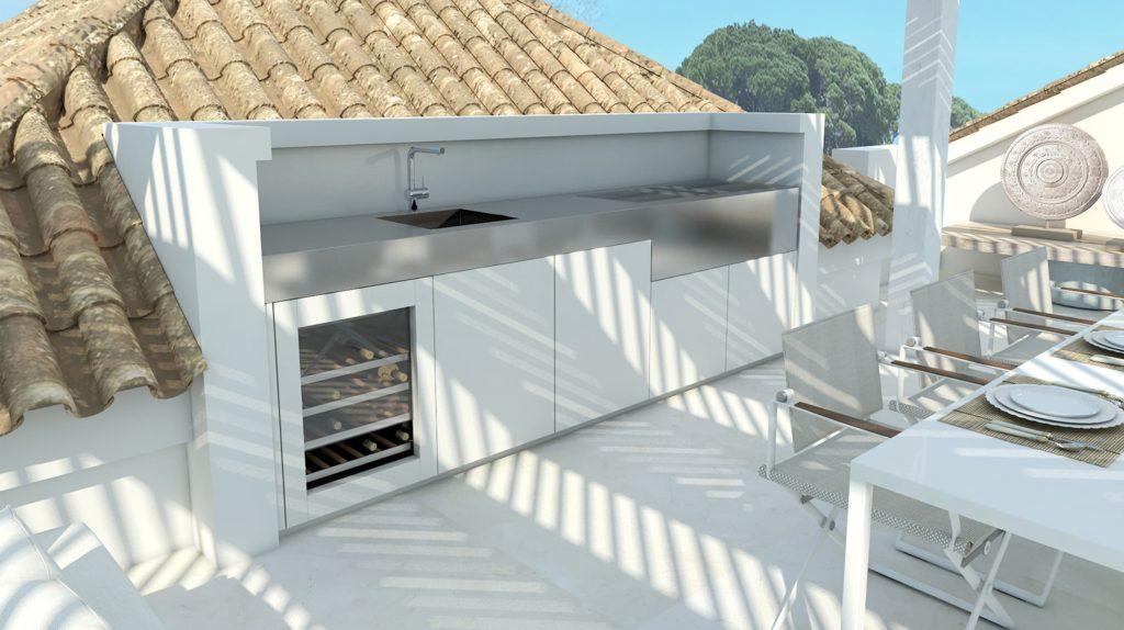 cocina exterior blanca en terraza