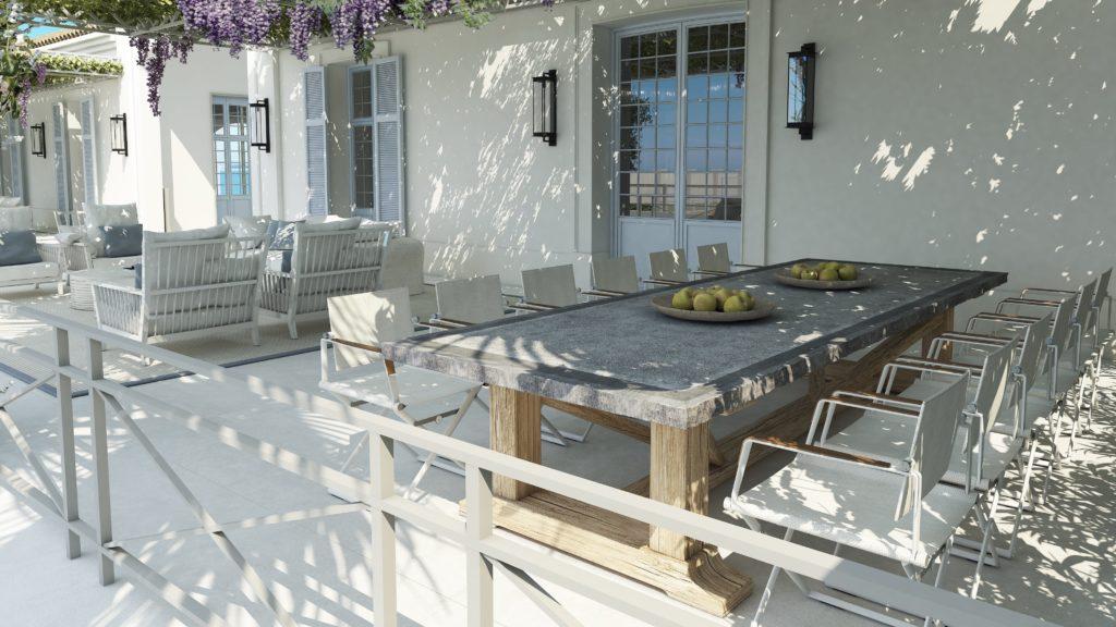 cocina exterior con mesa y sillas