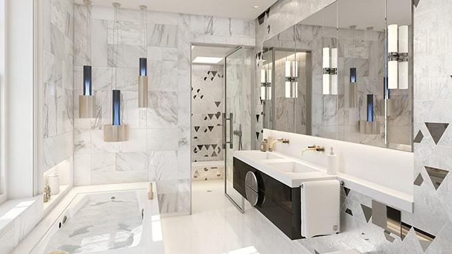 baño con piedra natural