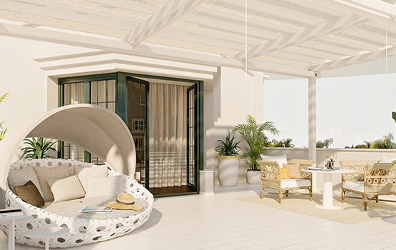 Terraza mediterránea como espacio recreativo.