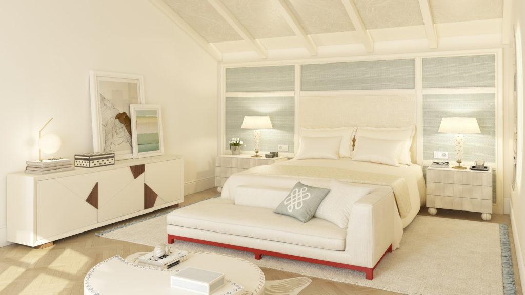 dormitorio blanco con alfombra rectangular debajo de la cama