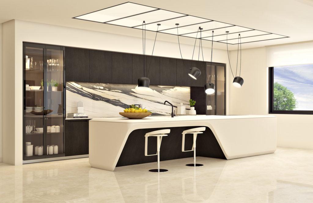 cocina estilo minimalista en tonos blancos y negros