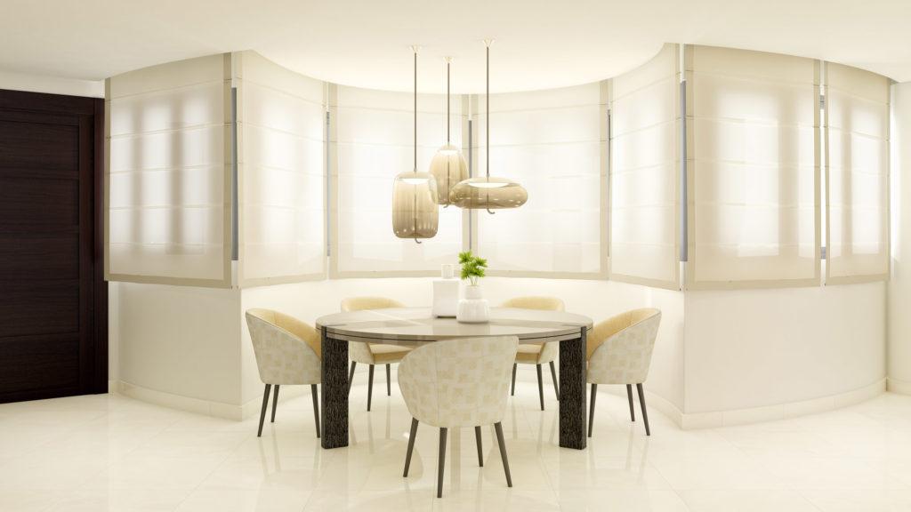 comedor blanco estilo minimalista con una mesa redonda, sillas y lámpara