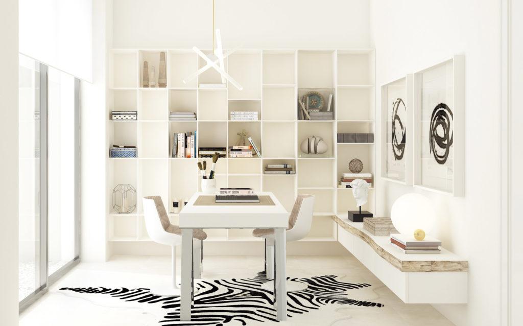 despacho sencillo con alfombra de cebra