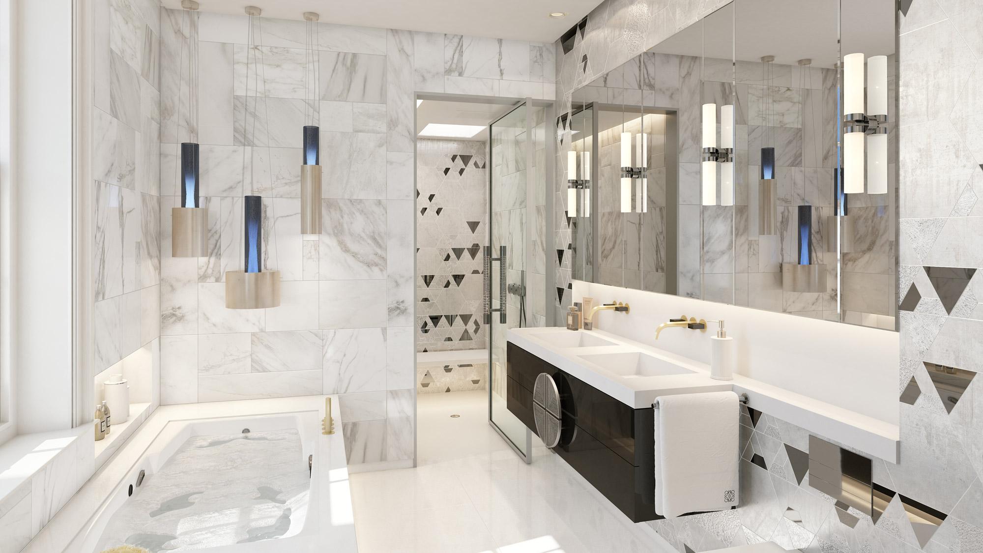 espejo amplio en la pared de un baño de mármol