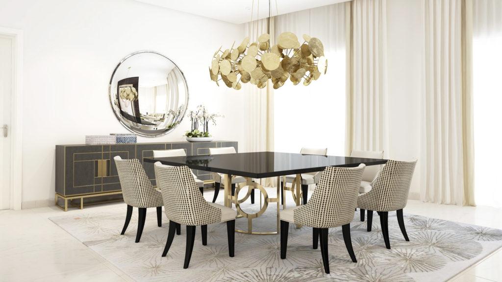 comedor con espejo redondo enfrente de una mesa