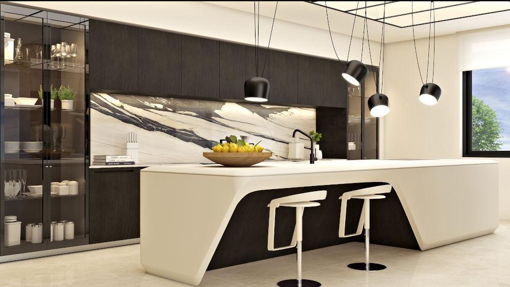 cocina estilo Japandi en tonos blancos y negros con plantas.