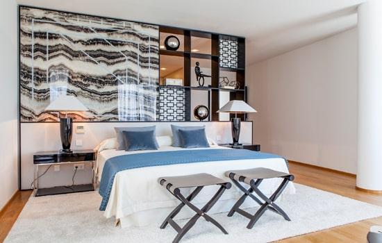 Pared dormitorio con texturas